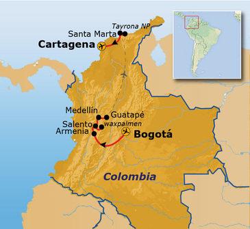 routekaartje Rondreis Colombia Hoogtepunten