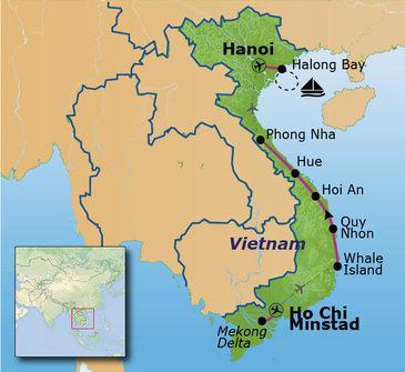 Route Vietnam 22 december 2018