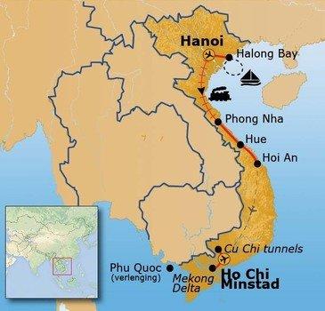 Route Vietnam reis vanaf oktober 2018
