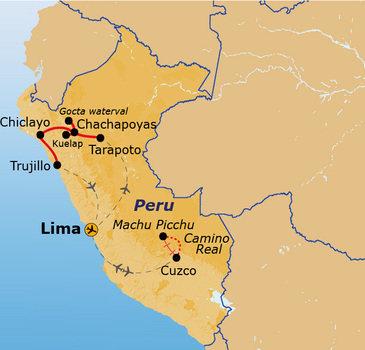 routekaartje Rondreis Noord-Peru Pop-Up