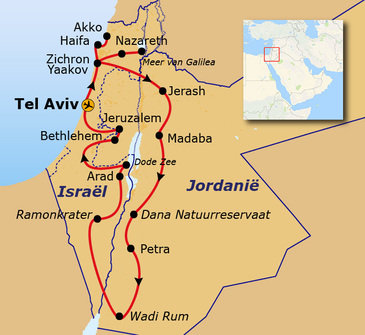 Route Jordanië en Israël, 15 dagen