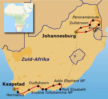 Route Johannesburg - Kaapstad, 17 dagen