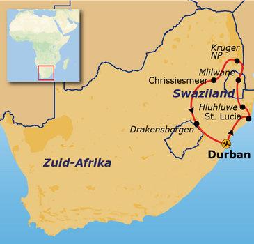 routekaartje Rondreis Zuid-Afrika & Swaziland Pop-Up