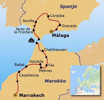Route Andalusië & Marokko, 14 dagen
