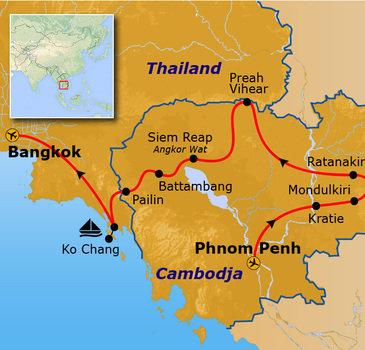 Route Cambodja en Thailand, 21 dagen