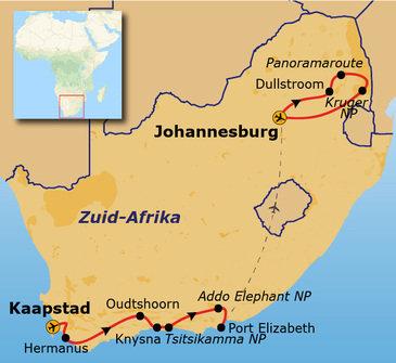 Route Kaapstad - Johannesburg, 17 dagen