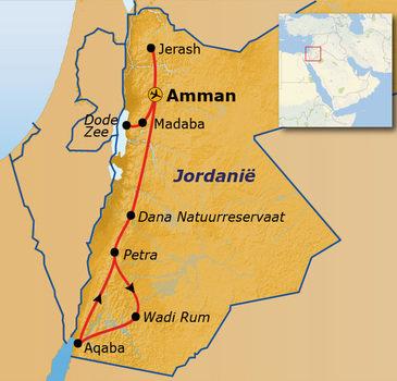routekaartje Groepsrondreis Jordanië