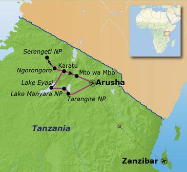 routekaartje Familiereis Tanzania en Zanzibar