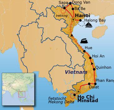 Route Vietnam vanaf april 2019, 29 dagen