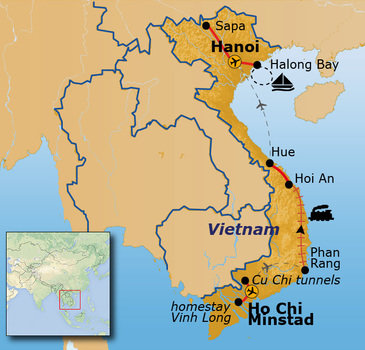 routekaartje Rondreis Vietnam