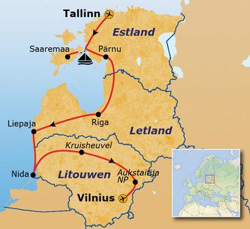 routekaartje Rondreis Estland, Letland en Litouwen