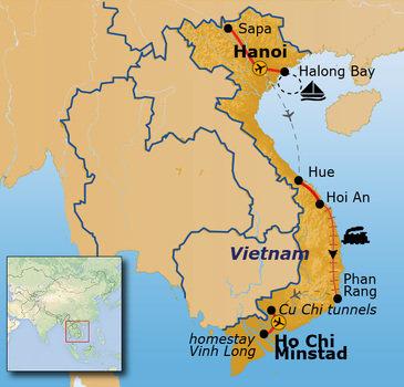 Route Vietnam, Hanoi - Ho Chi Minhstad