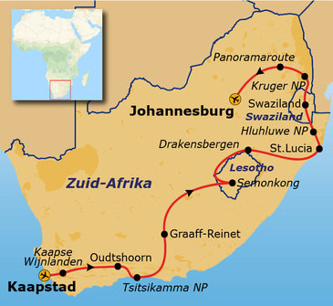 Route Kaapstad - Johannesburg
