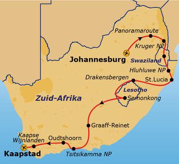 Route Johannesburg - Kaapstad