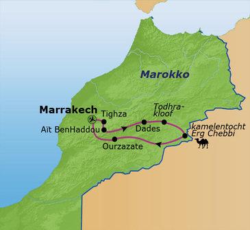 routekaartje Familiereis Marokko