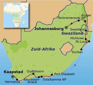 Route Zuid-Afrika, 20 dagen