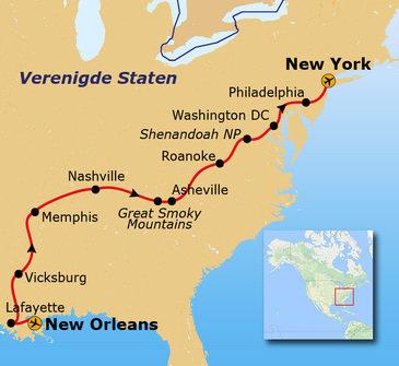 Route Verenigde Staten, het zuid en oosten, 18 dagen