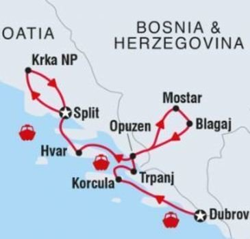 routekaartje Groepsrondreis Adventure cruising - Croatia Coastal Cruising – Dubrovnik to Split