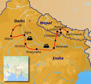 routekaartje Groepsrondreis Noord-India en Nepal Hoogtepunten