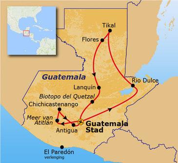Route, rondreis Guatemala, 17 dagen