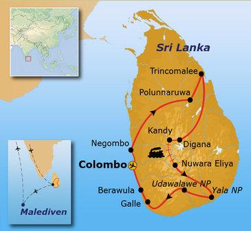 Route Sri Lanka en Malediven, 21 dagen