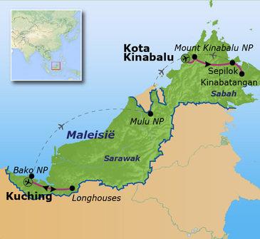 Route Maleisisch Borneo familiereis, 22 dagen