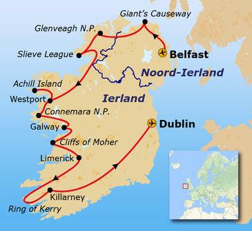 Route Noord-Ierland & Ierland, 13 dagen