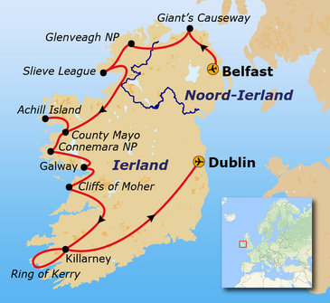 routekaartje Groepsrondreis Noord-Ierland & Ierland