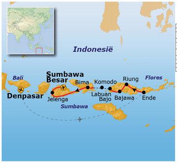 Afwijkende route Kleine Sunda Eilanden zonder Lombok