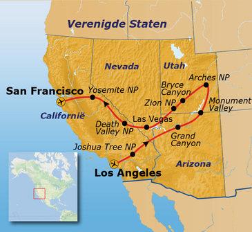 Route Verenigde Staten West, 22 dagen