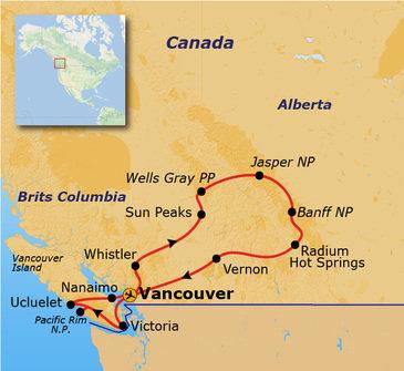 routekaartje Rondreis Canada - Hotelreis