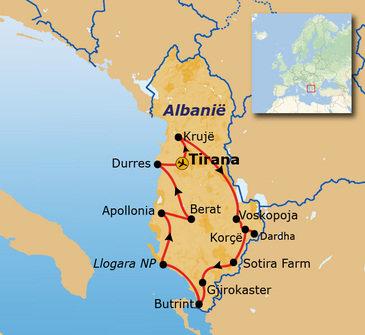 routekaartje Rondreis Albanië Hoogtepunten