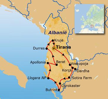 routekaartje Groepsrondreis Albanië Hoogtepunten