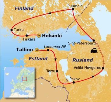 routekaartje Rondreis Estland, Rusland en Finland