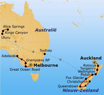 Route Australië & Nieuw-Zeeland vanaf 2019