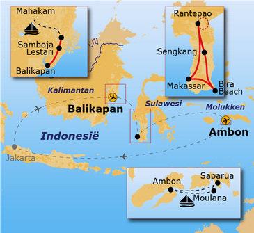 routekaartje Rondreis Kalimantan, Sulawesi & Molukken