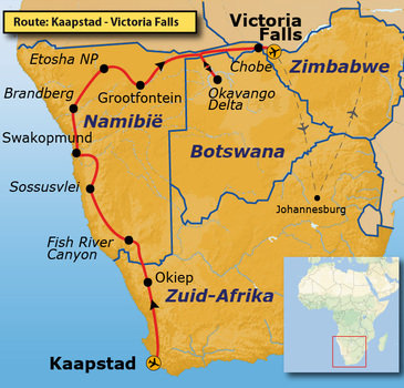 Route Kaapstad-Vic Falls