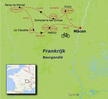 routekaartje Fietsvakantie Frankrijk - Bourgogne met kinderen
