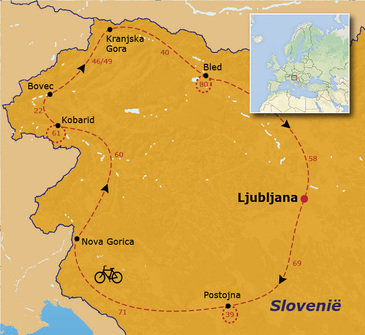 routekaartje Fietsvakantie Slovenië (hotel)