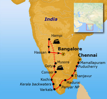 Route Zuid India, 23 dagen