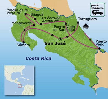 Reisroute Costa Rica Privé Familiereis
