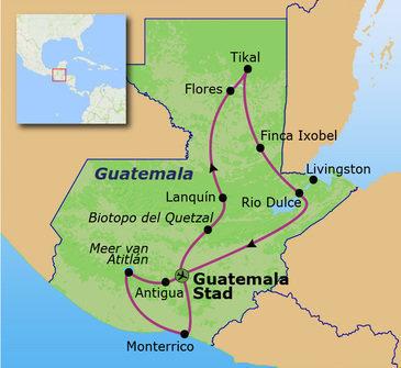 Route, rondreis Guatemala, 21 dagen