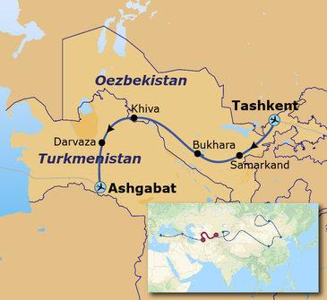 Route van Tashkent naar Ashgabat