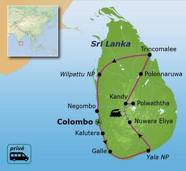 routekaartje Familiereis Privé Sri Lanka