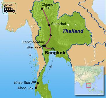 routekaartje Familiereis Privé Thailand Comfort