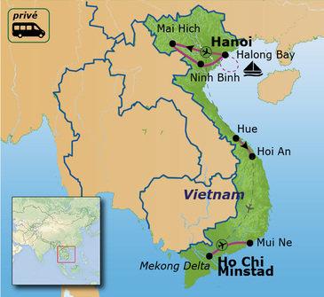 routekaartje Familiereis Privé Vietnam