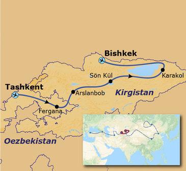 routekaartje Groepsrondreis met Dragoman door Oezbekistan en Kirgistan