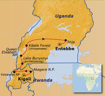 routekaartje Groepsrondreis Uganda en Rwanda