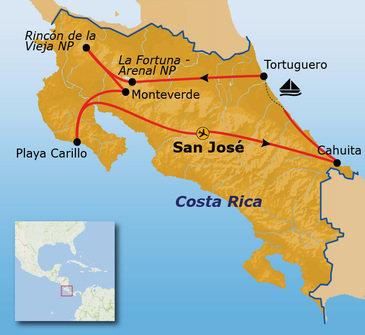 Route Costa Rica, vertrek 1 Feb. 2019