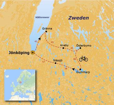 routekaartje Fietsvakantie Zweden